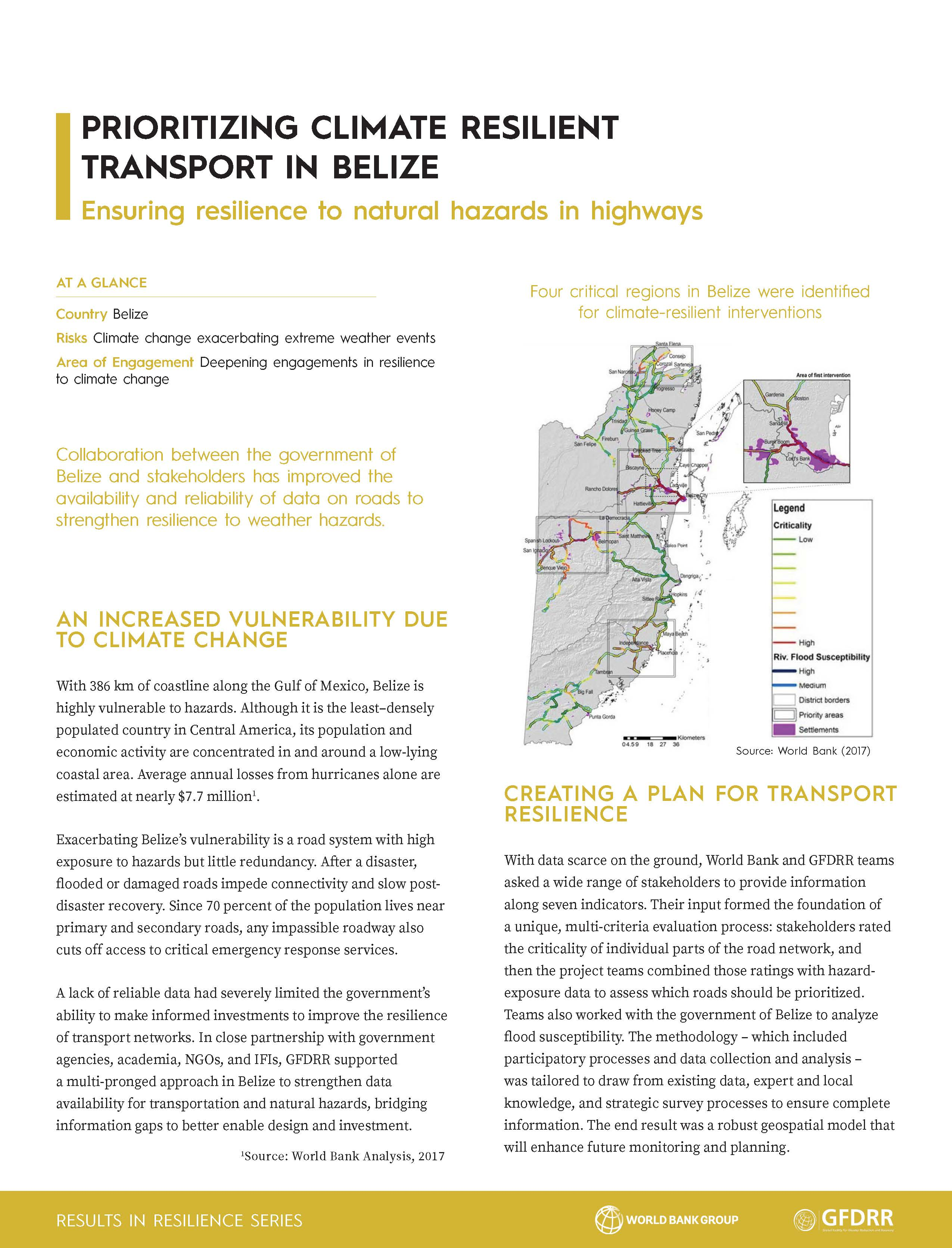 Results in Resilience: Prioritizing Climate Resilient Transport in Belize