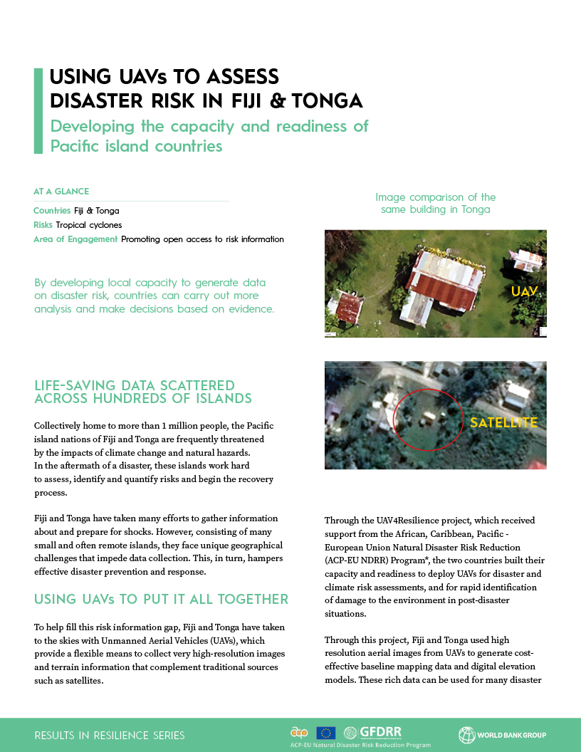 Using UAVs to assess disaster risk in fiji and tonga