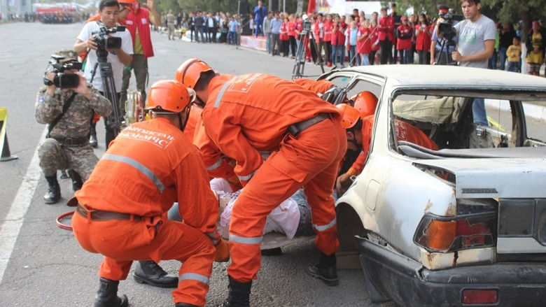 Rescue activities during a mock-road accident in Chui province