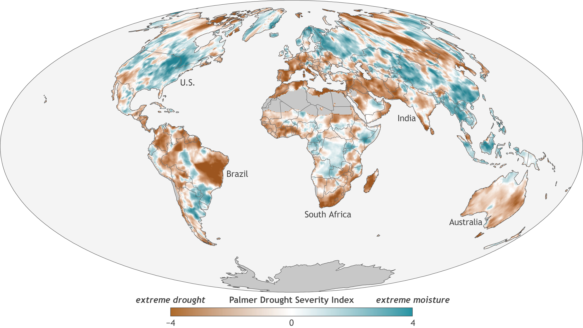 Global drought patterns in 2017