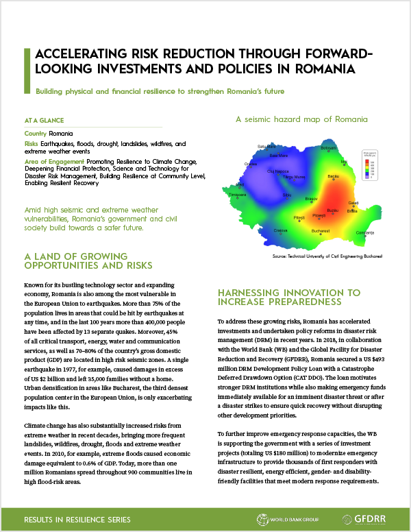 Accelerating Risk Reduction through Forward-Looking Investments and Policies in Romania