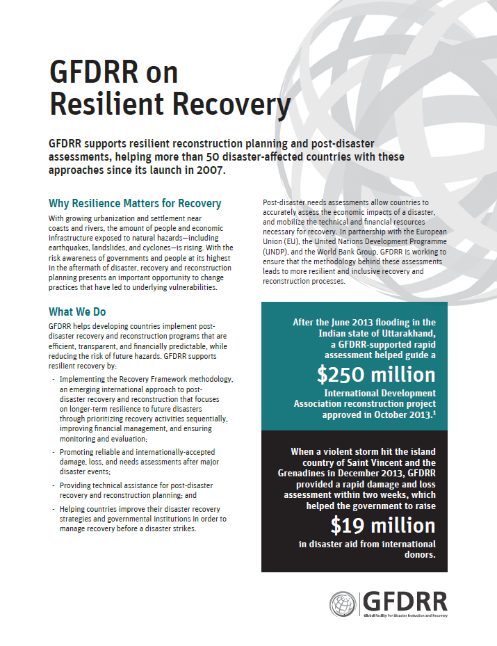 This is the cover page for the thematic note on Resilient Recovery