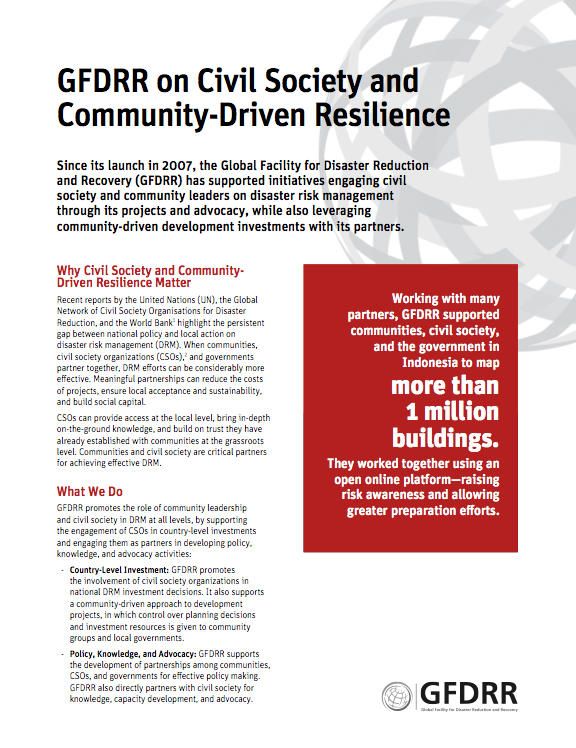 This is the cover page for the thematic note Civil Society and Community-Driven Resilience