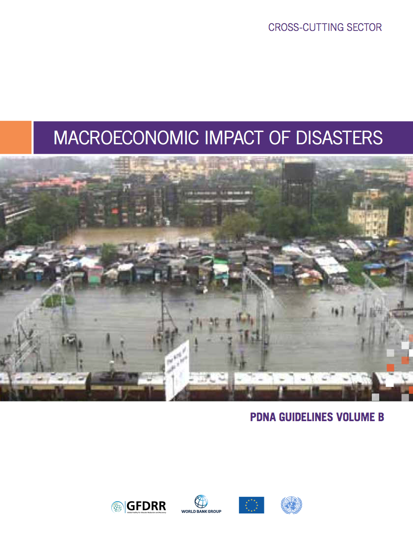 This is the cover for the pdna guidelines volume b macroeconomic impact of disasters