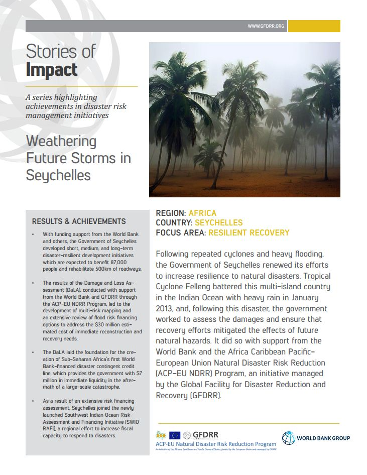 This is the cover for the stories of impact on seychelles