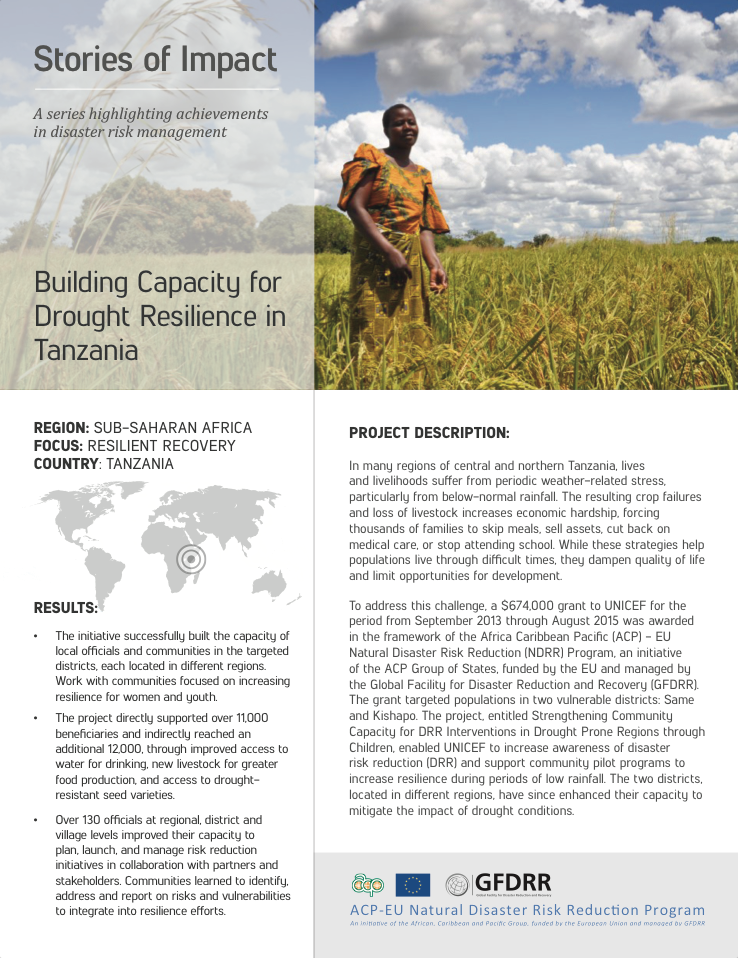 This is the cover for the stories of impact on tanzania