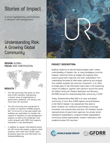 This is the cover for the stories of impact on understanding risk