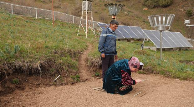 Data collection at weather station in Talas Valley, Kyrgyz Republic
