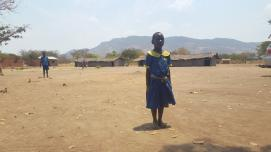Nine year old Selina Josophati, a standard two learner at the Government Junior Primary School in Mchinji district of Malawi