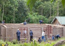 A group of men build a house out of brick next to a forest