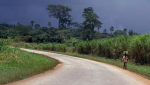 A Ghanaian man walks along a road before a storm. Photo by Curt Carnemark.